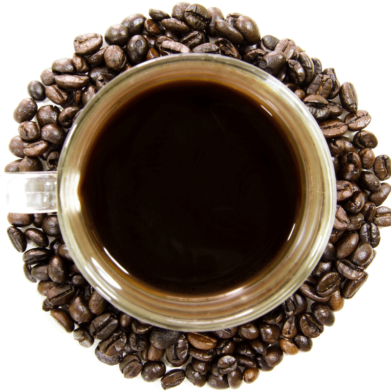 black coffee decorated with whole black coffee beans