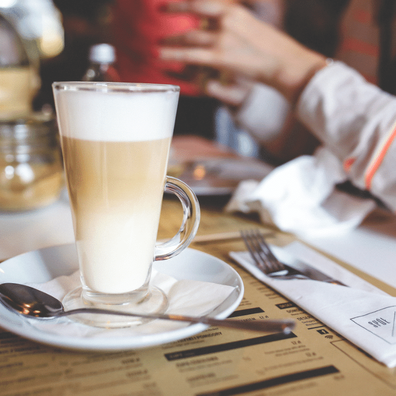 frothy latte in a restaurant